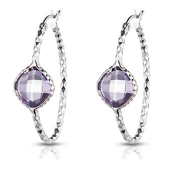 Sterling Silver Checkerboard Diamond Cut Oval hoop earring with Genuine Semi-precious Colored Stone