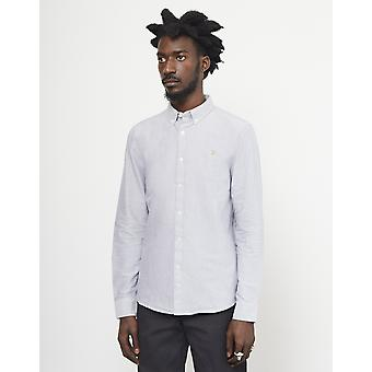 Farah Brewer Oxford Slim Long Sleeve Shirt Light Grey