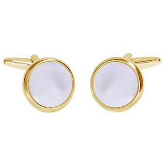 David Van Hagen Shiny Circle Mother of Pearl Cufflinks - White/Gold