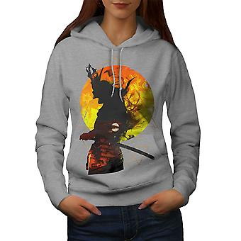 Moon Night Japan Women GreyHoodie | Wellcoda
