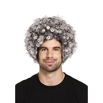 Old Lady Grey Afro Wig Bad Burglar Grandma Fancy Dress Accessory