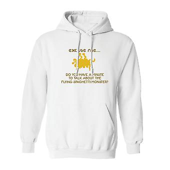 Talk About Flying Spaghetti Monster Graphic Men's White Hoodie