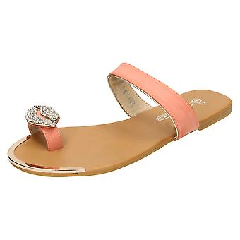 Womens Spot On Flat Toeloop Sandal