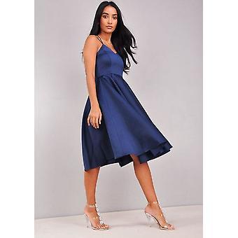 Satén con cuello en v tiras Midi vestido azul marino