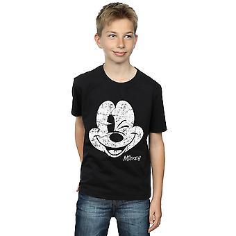 Disney jungen Mickey Maus Distressed Face T-Shirt