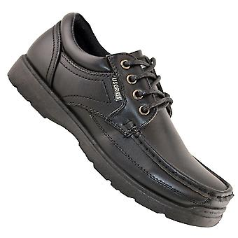 Boys Kids New Lace Up Back To School Hard Wearing Formal Black Shoes