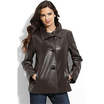 Womens Lambskin 3 Button Leather Coat