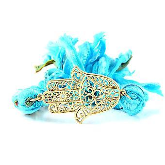 Ettika - Bracelet in yellow gold Hamsa and cotton ribbons braided blue