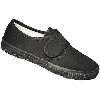 Mirak niños textil Plimsoll zapatillas zapato en caja negra (Med)