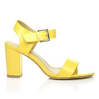CARRIE Yellow Patent PU Leather High Block Heel Peep Toe Ankle Strap Party Sandals