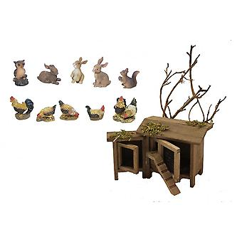 Nativity accessories stable Nativity set chicken and rabbit Hutch with animals