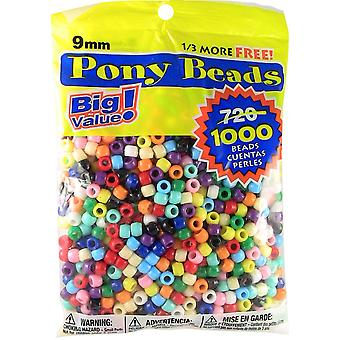 Pony Beads 6mmX9mm 1,000/Pkg-Opaque Multicolor