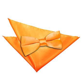 Fluoriserende oransje ren sateng sløyfe & Pocket Square sett