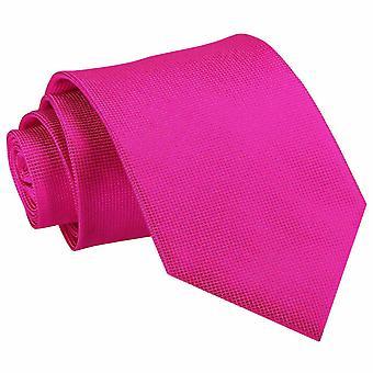 Fuchsia Pink Solid Check Classic Tie