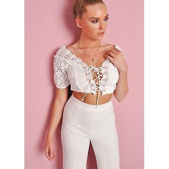 Crochet Bardot Lace Up Crop Top White