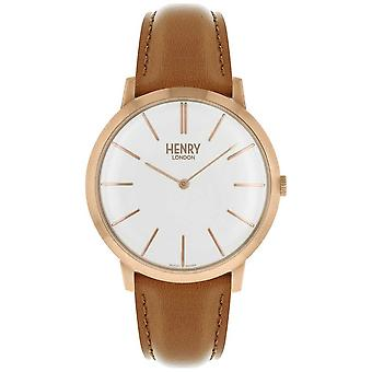 Henry London Iconic White Dial Tan Leather Strap Rose Tone Case HL40-S-0240 Watch