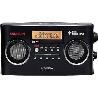 Sangean DPR-25 + DAB + draagbare radio AUX, DAB +, FM batterijoplader zwart