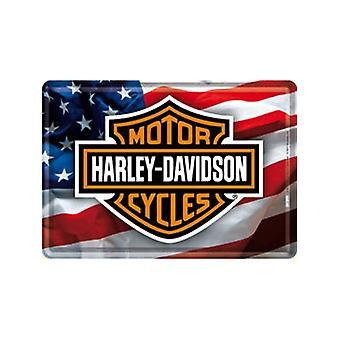 Harley Davidson Stars & Stripes Metal Postcard / Mini-Sign