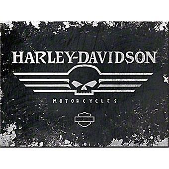 Harley Davidson Black Skull Steel Fridge Magnet