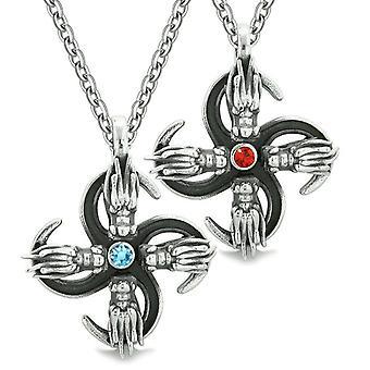 Übernatürliche Drachen Amulett Befugnisse lieben Paare oder beste Freunde rot blauen Kristallen Anhänger Halsketten