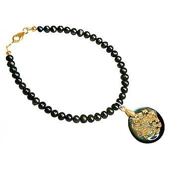 Gemshine - damer - armband - hänge - medaljong - pärlor - pärlemor - guld - grå-Tahiti - 2,5 cm