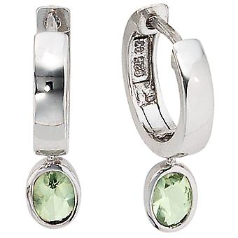 Hoop earrings 925 sterling silver 2 cubic zirconia earrings kitchen Green