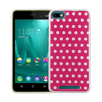Cell phone case for WIKO Lenny 3 cover case protective bag motif slim silicone TPU polka dot pink