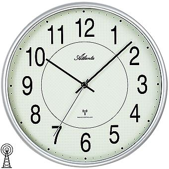 Atlanta 4385/19 wall clock radio radio controlled wall clock analog silver round luminous dial
