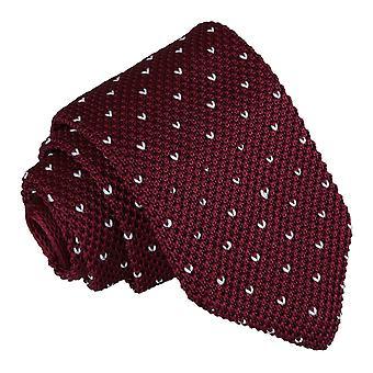 Borgogna screziati V Polka Dot cravatta in maglia sottile