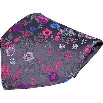 Posh og Dandy Floral luksus silke Pocket Square - grå/Pink