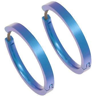 Ti2 Titanium middels Hoop øredobber - Kingfisher blå