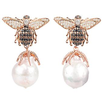 Latelita barokk perle Drop øredobber Honey Bee Rose Gold Stud 925 CZ smykker
