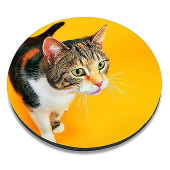 i-Tronixs - Cat Printed Design Non-Slip Round Mouse Mat for Office / Home / Gaming - 14