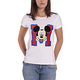 Official Mickey Mouse T Shirt Varsity M Face Disney new Womens Skinny Fit White