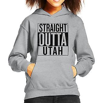 Black Text Straight Outta Utah US States Kid's Hooded Sweatshirt