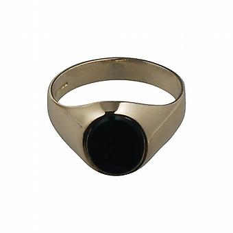 9ct Gold 12x10mm gents Onyx set Signet Ring Size R