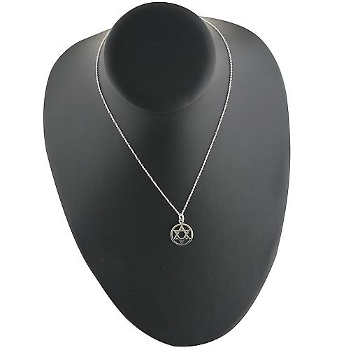 Silver 17mm plain Star of David Pendant with a rolo Chain 16 inches Only Suitable for Children
