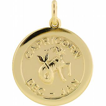 9ct Gold 22mm round Zodiac disc Capricorn