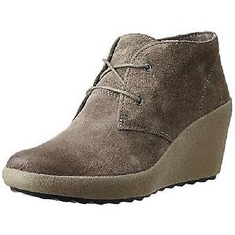 Ladies Clarks Lace Up Suede Wedge Boots 'Nice Melody' Grey UK 7D, EU 41