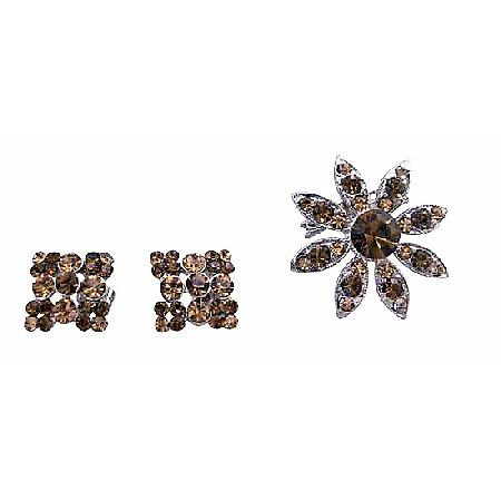 Smoked Brown Crystals Round Brooch Silver Casting Matching Earrings