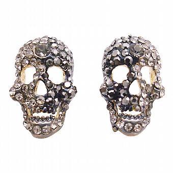 Skull Head w/ Black Diamond Crystals Earrings