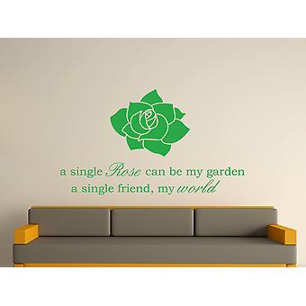 A Single Rose Wall Art Sticker -  Green