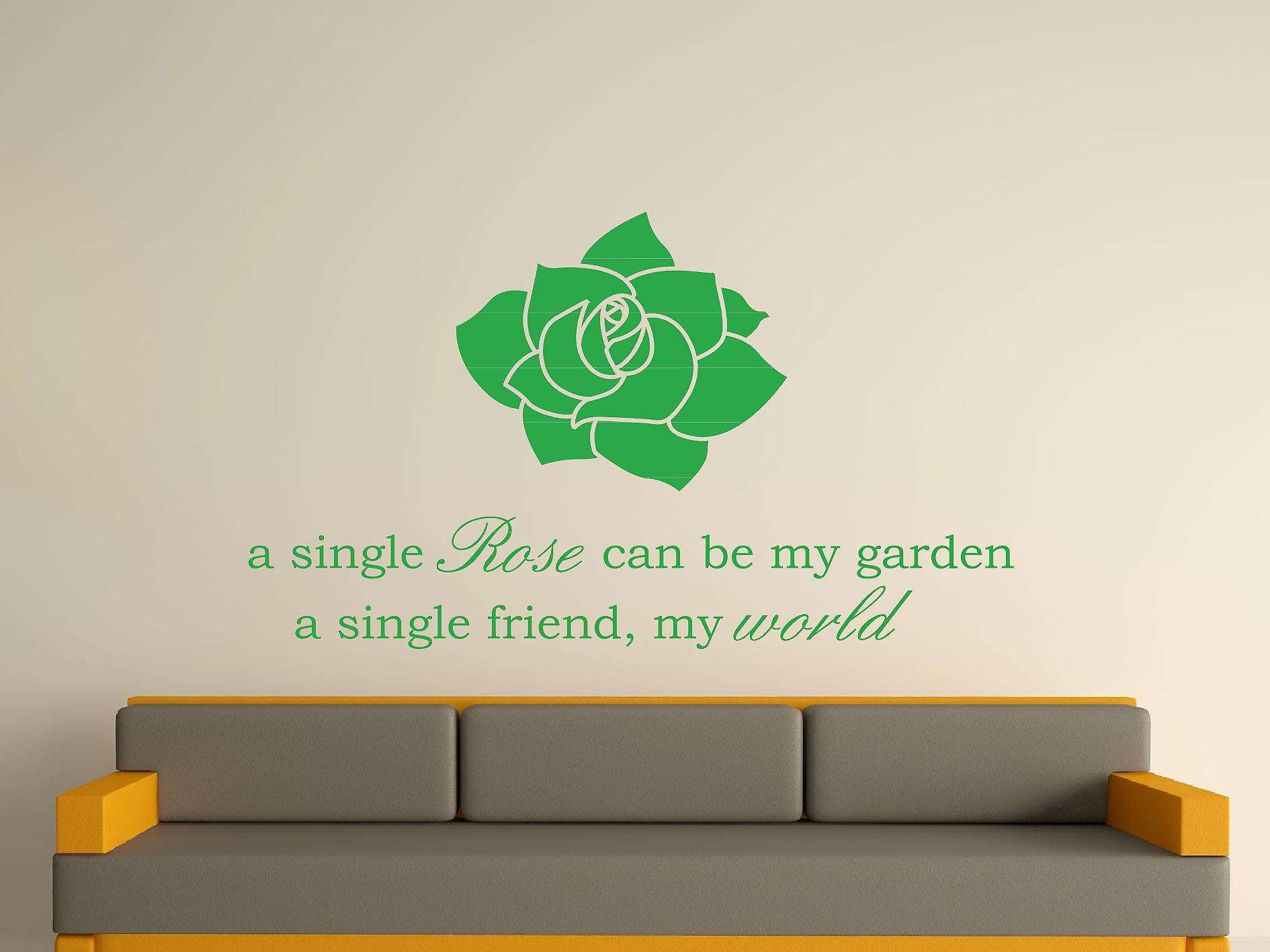 A Single Rose Wall Art Sticker -  Green
