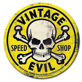 Vintage Evil Speed Shop Skull  round steel sign  360mm diameter (pst)