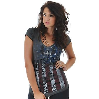 West Coast Choppers Oil Dye Anthracite American Pride Womens T-Shirt