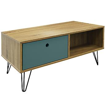 Industrial - Low Coffee Table / Entertainment Storage Unit With Double Drawer - Oak