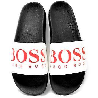 Boss Solar Slider Sandals, Navy/white/red