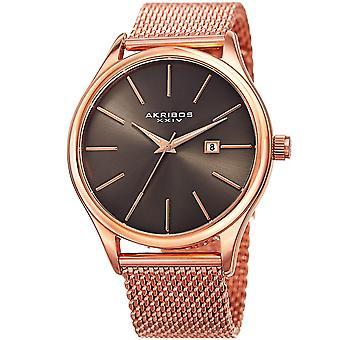 Akribos XXIV Men es AK959 Quartz Sunray Dial Date Stainless Steel Mesh Watch AK959GGN