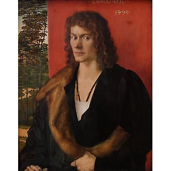 Portrait of Oswolt Krel,Albrecht Durer,49.6x39cm