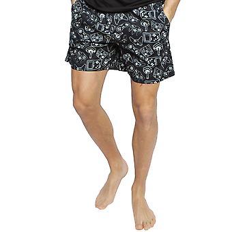 Cyberjammies 6389 mænds Isaac Black mix fjernbetjening print bomuld pyjamas kort